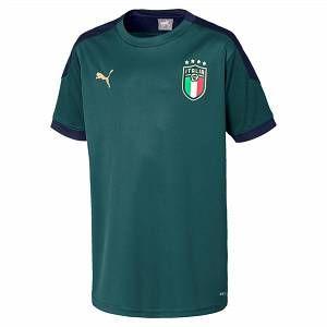 Puma Maillot d'entraînement Italia pour enfant, Vert/Bleu, Taille 152