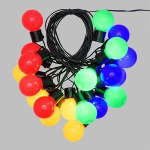 Lotti Guirlande lumineuse d'été LED - 10 m - Ø50 x H60 mm - Multicolore - 10 m - 20 ampoules G50 LED - Limière fixe - Transformateur 4.5 V - Câble noir - Ø50 x H60 mm - Multicolore