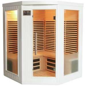 Sauna d'angle infrarouge émetteurs carbone 2200W 3-4 places - Blanc - SNÖ