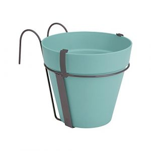 Loft URBAN Pot de fleur balconnière - 27 x 19 x 19 cm - Menthe - Réservoir d'eau - Balustrades jusqu'à 6 cm de large - Charge maximale 5 kg - Recyclables - Résistant au gel