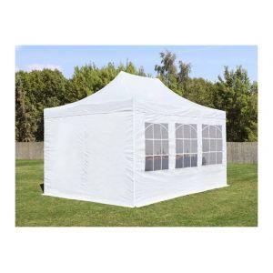 Intent24 Tente de Réception Blanche 3 x 4,5 m avec Fenêtres