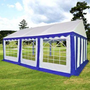 VidaXL Chapiteau de jardin PVC 3 x 6 m Bleu et blanc