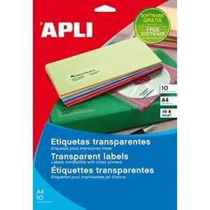 APLI 10053 - 10 étiquettes polyester transparentes, format 210 x 297 mm (10 feuilles / cdt)