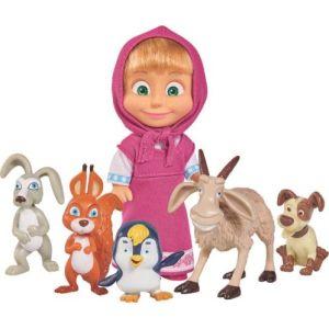 Simba Toys Figurine Masha 12 cm et ses petits animaux - Masha et Michka