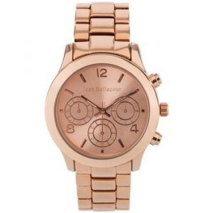 Jean Bellecour Montre Femme - Montre analogique en acier sur bracelet en acier. Cadran rose. Montre resistant a une pression de 3 Atm.