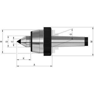 Rohm Pointe tournante avec écrou d'extraction et pastille de carbure, Taille : 110, MK 5, A 129,0 mm, B : 90 mm, C : 18 mm, D : 40 mm, G : 44,399 mm