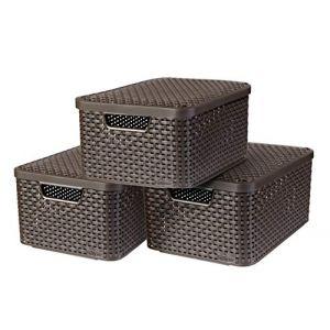 Curver Boîte de rangement Style avec couvercle 3 pcs M Marron 240655