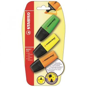 Stabilo BOSS MINI - lot de 3 surligneurs - jaune + vert + orange