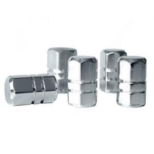 EUFAB Lot de 5 Bouchons de valve - Aluminium - Chromé