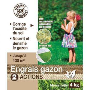 NONA Engrais gazon 2 en 1 - 4 kg - 2 en 1 - 4 kg - Apporte une nutrition équilibrée favorisant la densité et le reverdissement des gazons