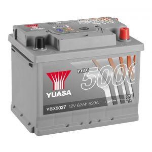 Yuasa Silver High Performance Batterie Auto 12V 62Ah 600A YBX5027 12V 62Ah 600A Silver High Performance Battery 243 x 175 x 190 mm + D