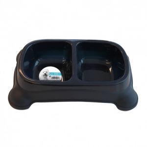 M pets Gamelle en plastique double PLASTIC BOWL - Pour chien - 2x400ml - Coloris divers - Gamelle double - Système antidérapant