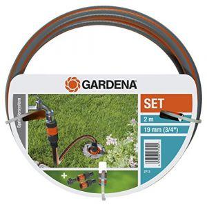 Gardena Set de connexion grand débit de : kit complet pour le raccordement d'une tuyauterie et d'un système de gicleurs à l'alimentation en eau, avec robinet, raccords de tuyau et flexible (2713-20)