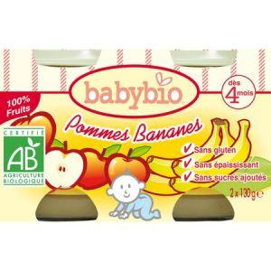 BabyBio Petit Pot Fruit : Pomme-Banane 2 x 130g - dès 4 mois
