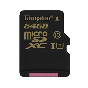 Kingston SDCA10/64GB - Carte mémoire  microSDXC 64 Go UHS-I Class 10 avec adaptateur SD