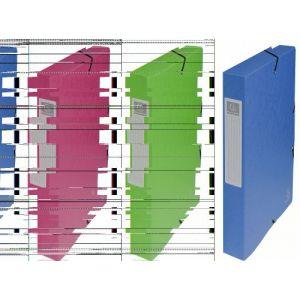 Exacompta 50402E - Boîte à élastique EXABOX, carte lustrée, dos de 40, coloris bleu