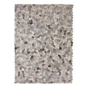 Kare Design Circle Grey - Tapis en cuir 170 x 240 cm