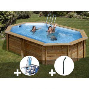 Sunbay Kit piscine bois Cannelle 5,51 x 3,51 x 1,19 m + Kit d'entretien + Douche