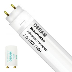 Osram SubstiTUBE Advanced UN 7.5W 830 60cm | Blanc Chaud - Starter LED incl. - Substitut 18W