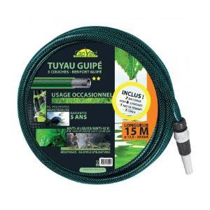 Cap Vert Tuyau guipé 3 couches équipé Longueur 15 m Diamètre 12,5 mm