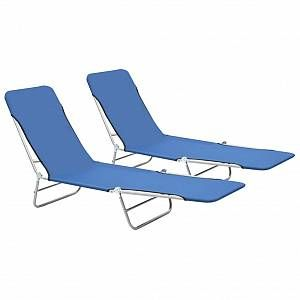 VidaXL Chaise longue pliable 2 pcs Bleu