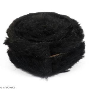 Graine Créative Rouleau de tissu fausse fourrure - Noir - 6 cm x 2 m