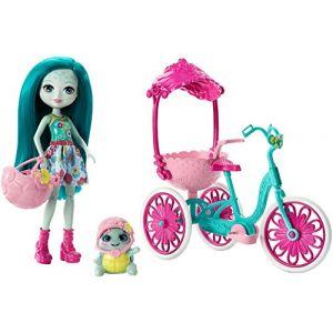 Mattel Poupée Enchantimals Taylee Tortue sortie à vélo