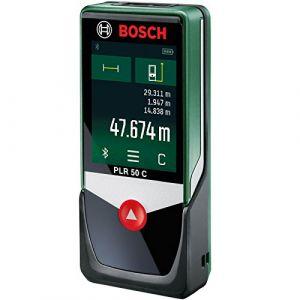 Bosch Télémètre Laser Connecté PLR 50 C avec Ecran Tactile, Connexion Bluetooth, Portée 50 m 0603672200