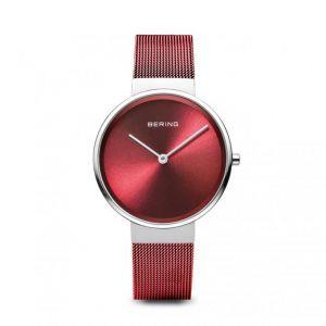 Bering Montre 14531-303 - Boîtier acier brillant cadran rouge bracelet acier milanais rouge Femme