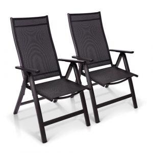 Blumfeldt London lot de 2 chaises de jardin aluminium Textilène 6 positions pliante
