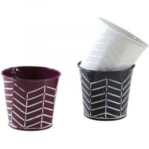 Aubry Gaspard Mini cache-pot rond rayé en métal (Lot de 3)