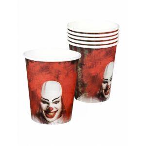 6 Gobelets en carton Clown terrifiant 25 cl Taille Unique