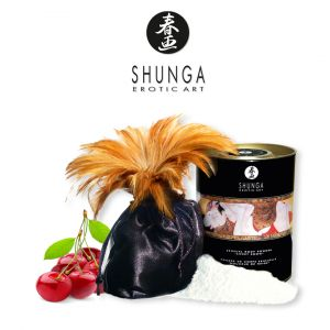 Shunga Erotic Art Poudre de corps - Douceur des neiges - Cerise Ardente - avec plumeau - 228g