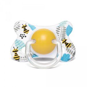 Suavinex Sucette anatomique reversible silicone 4-18 mois abeille jaune