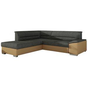 Comforium Canapé d'angle convertible 4 places en tissu gris fonceet cuir synthétique beige avec coffre méridienne côté gauche