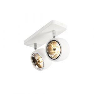 Qazqa Design/Industriel/Moderne Plafonnier spot Go Nine 2 ampoules blanc Aluminium/Acier Blanc Rond/Luminaire/Lumiere/Éclairage/intérieur/Salon/Cuisine