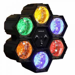 Ephéria LAMPE DISCO 6 Spots lumineux LED Bleu, Rouge, Vert, Jaune, Orange et violet, varient au son et au rythme de la musique