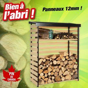 Outiror Abri bois pin du Canada pour mettre vos bûches à l'abri - H.1,52M, L.1,19M, P.53,5M