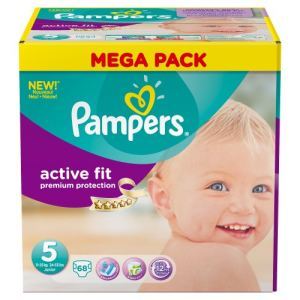 Pampers Active Fit taille 5 Junior 11-25 kg - Mega Pack 68 couches