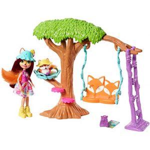 Mattel Enchantimals Coffret L'Arbre Enchanté du Renard, Mini-poupée Felicity Renard, Figurine Animale Flick avec balançoire et accessoires, jouet enfant, FRH45