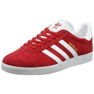 Adidas Gazelle, Baskets Basses Homme, Rouge (Scarlet/Footwear White/Gold Metallic), 38 2/3 EU