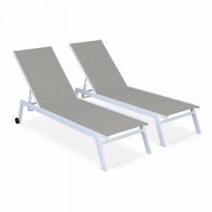 Alice's Garden Lot de 2 bains de soleil ELSA en aluminium blanc et textilène taupe, transats multi positions avec roulettes
