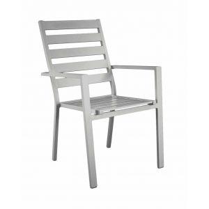 Hévéa Fauteuil à manger sarana p3 en aluminium gris plata coussins couleur alba ecru - Lot de 2