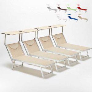 Beach and Garden Design Bain de soleil chaises longue transats Lits de plage piscine aluminium jardin SANTORINI 4 pcs | Beige