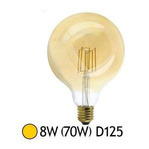 Vision-El 77157 Ampoule LED E27 G125 Filament 8W 880 LM 2700°K, Verre, 8 W, Transparent Cuivré