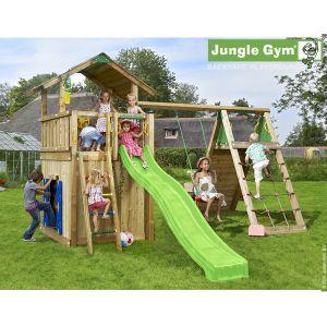Jungle Gym Tarünga - Aire de jeux en bois + toboggan - 18 enfants