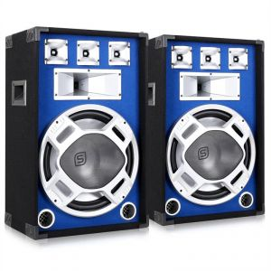 Skytronic Kit DJ PA 2 Enceintes Passives HP LED 1600W sono subwoofer 15""