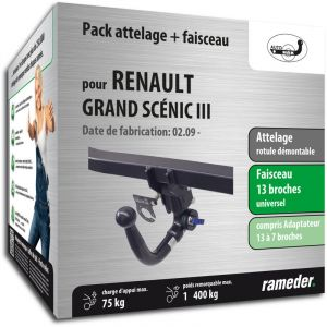 Auto-Hak Rameder Attelage rotule démontable + faisceau universel 13 broches + adaptateur - RENAULT GRAND SCÉNIC III