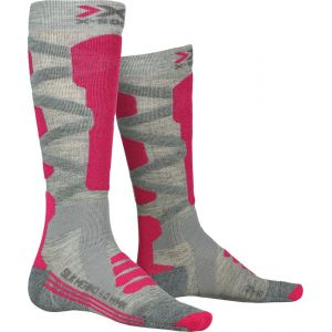 X-Socks Chaussettes Ski Silk Merino 4.0 Lady Femme, Gris/Rose, FR : S (Taille Fabricant : S(37-38))