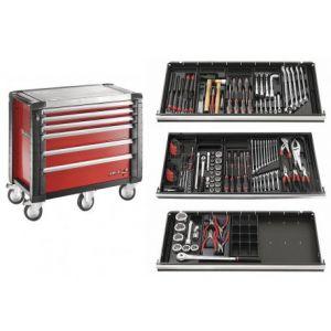 Facom Servante rouge - 6 tiroirs - 5 modules + Composition d'outillage Poid Lourd JET.6M5PLPB